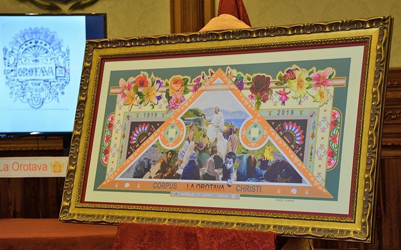 Presentación de la alfombra de Corpus Cristi en La Orotava